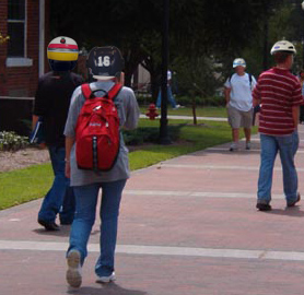 Students already wearing helmets to class