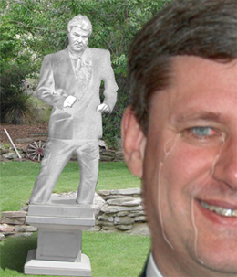 Harper Builds Statue of Jean Brault on Front Lawn of Stornaway